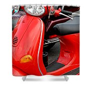 Red Vespa Vintage Scooter Motorcycle Shower Curtain
