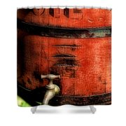 Red Weathered Wooden Bucket Shower Curtain