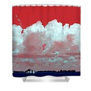 Red White And Blue Farm Shower Curtain