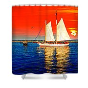 Red White Blue Cape Cod Will Do Shower Curtain