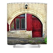 Red Windows And Door Provence France Shower Curtain