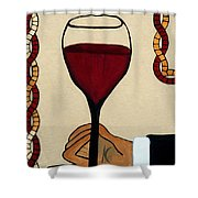 Red Wine Glass Shower Curtain