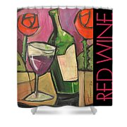 Red Wine Poster Shower Curtain
