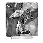 Redneck Cowboy Boot Birdhouse Bw Shower Curtain