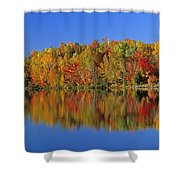 Reflected Autumn Trees In Simon Lake Shower Curtain