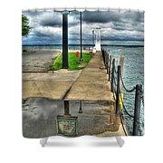 Reflecting At The Erie Basin Marina Shower Curtain