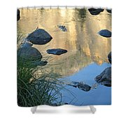 Reflecting Peaks In The Merced River Shower Curtain
