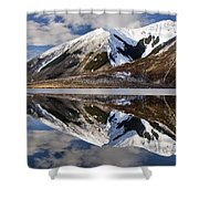 Reflection In Lake Pearson, Castle Hill Shower Curtain