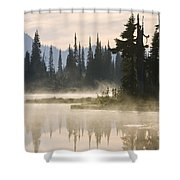 Reflection Lake With Mist, Mount Shower Curtain