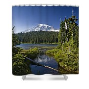 Reflection Lake With Mount Rainier Shower Curtain