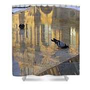 Reflection Of The Louvre In Paris Shower Curtain