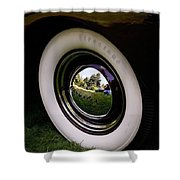 Reflections In A Hubcap Shower Curtain