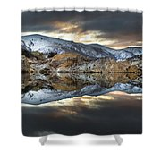 Reflections Of Cliffs On Blue Lake St Bathans Shower Curtain by Colin Monteath