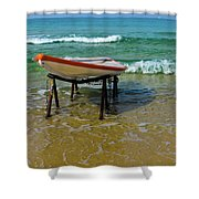 Rescue Boat In Anticipation Of Work Shower Curtain