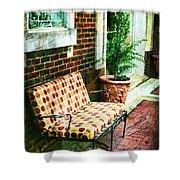 Retro Grunge Sidewalk Bench Seat Shower Curtain