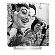 Rex Mardi Gras Parade Xi Bw Shower Curtain