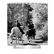 Riding Soldiers B And W Shower Curtain