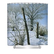 Rime From Rare Fog Coats Fence Shower Curtain