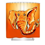 Ringo Party Animal Orange Shower Curtain
