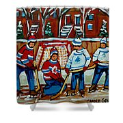 Rink Hockey Montreal Street Scenes Shower Curtain by Carole Spandau