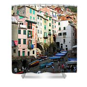 Riomaggiore's Harbor Shower Curtain