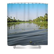 Ripples On The Water Of The Saltwater Lagoon In Alleppey In Kerala In India Shower Curtain