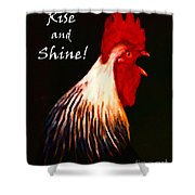 Rise And Shine - Rooster Clucking - Painterly Shower Curtain