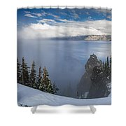 Rising Mists From Crater Lake Panorama Shower Curtain