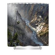 Rising Mists From Grand Canyon Of The Yellowstone Shower Curtain