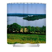 River Cruising, Upper Lough Erne Shower Curtain by The Irish Image Collection