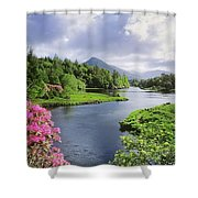 River Leading To A Mountain Shower Curtain