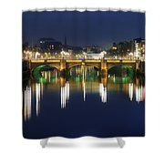 River Liffey At Night, Oconnell Street Shower Curtain