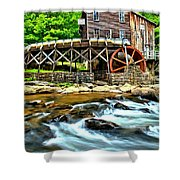 River Rock And A Grist Mill Shower Curtain