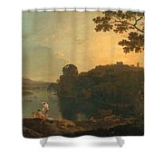 River Scene- Bathers And Cattle Shower Curtain