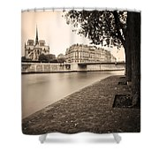 River Seine And Cathedral Notre Dame Shower Curtain