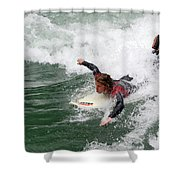 River Surfing Shower Curtain