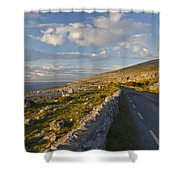 Road Along The Burren Coastline Region Shower Curtain