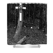 Road Death Cross- La Hwy 15 Shower Curtain