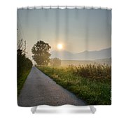 Road In Sunrise Shower Curtain