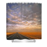 Road Into Sunset Shower Curtain