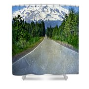 Road Leading To Snow Covered Mount Shasta Shower Curtain