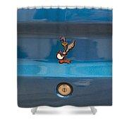 Road Runner Bird Emblem Shower Curtain