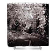 Road Through Autumn - Black And White Shower Curtain
