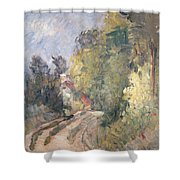 Road Turning Under Trees Shower Curtain