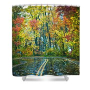 Roadway After The Rain  Shower Curtain