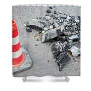 Roadworks - Asphalt And Pylon Shower Curtain
