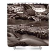 Roaring Fork Great Smokey Mountains Bw Shower Curtain by Steve Gadomski