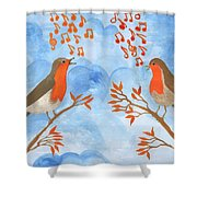 Robin Singing Competition Shower Curtain