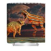 Robotic T. Rex & Triceratops Battle Shower Curtain