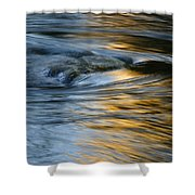 Rock And Blue Gold Water Shower Curtain